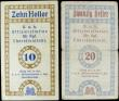 London Coins : A158 : Lot 231 : Czechoslovakia (2) 10 Heller & 20 Heller, concentration camp money, Terezin camp (Theresienstadt...