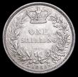 London Coins : A158 : Lot 2478 : Shilling 1850 ESC 1296 NVF, the obverse once cleaned with some contact marks around the Queen's...