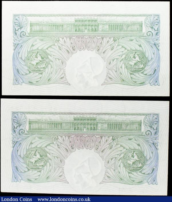 One Pound Mahon (2) B212 issued 1928, a consecutively numbered first series pair A25 436523 & A25 436524, original about UNC to UNC, scarce consecutive pair : English Banknotes : Auction 158 : Lot 28