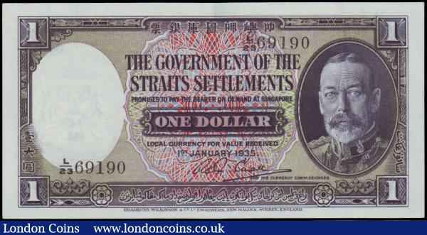 Straits Settlements 1 Dollar dated 1st January 1935 L/23 69190, Pick16b, portrait KGV at right & tiger on reverse, in PCGS holder graded 58 PPQ Choice About New -  Perfect Paper Quality : World Banknotes : Auction 158 : Lot 498