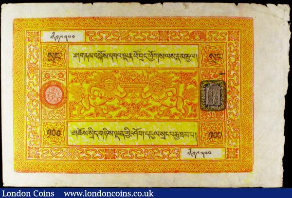 Tibet 100 Srang issued 1942 - 1959, Pick11b, short script, holes and edge nicks, EF : World Banknotes : Auction 158 : Lot 543