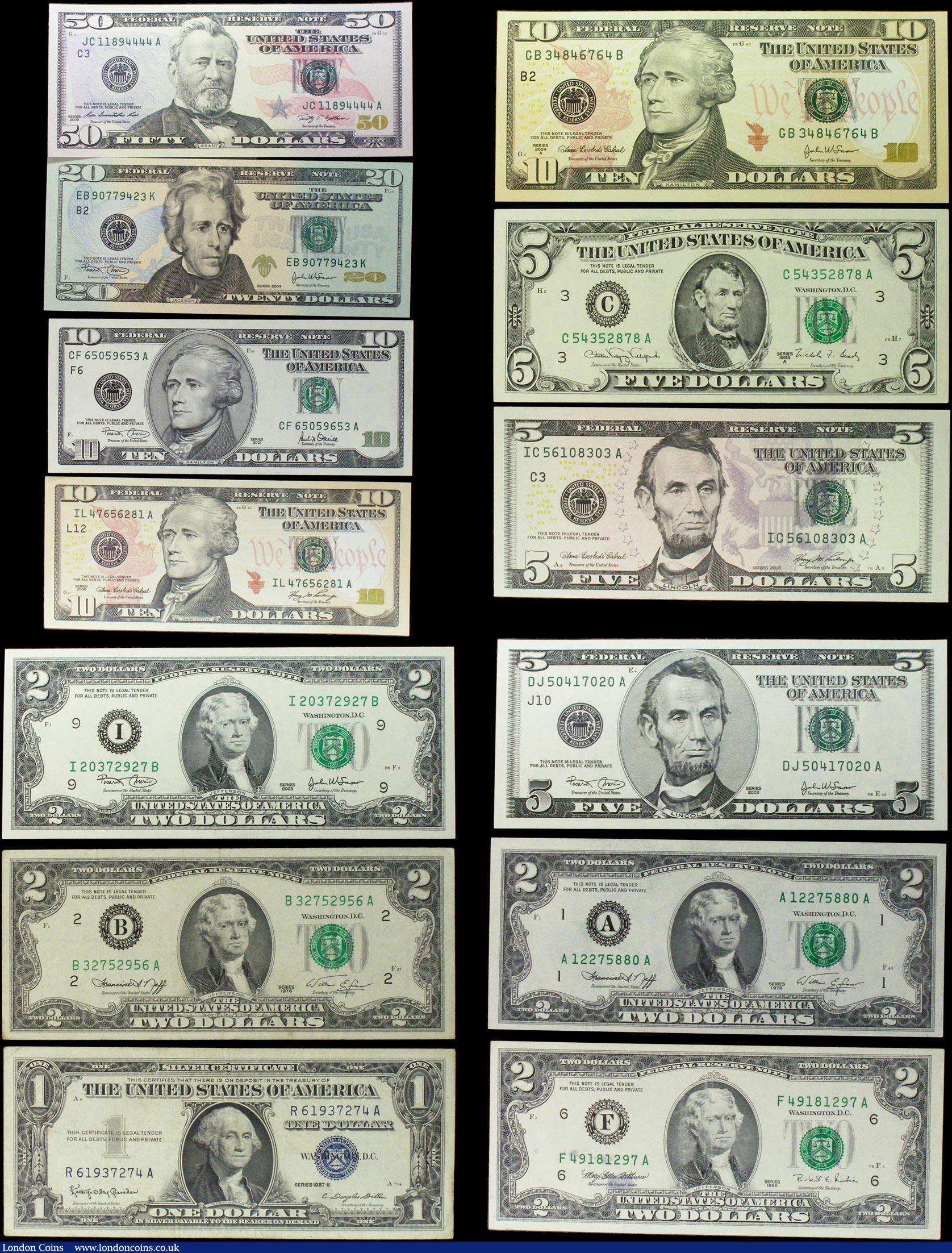 Usa Federal Reserve Note 13 50 Dollars 20 Dollars 10 Dollars 3