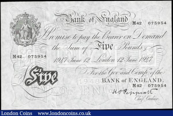 Five Pounds Peppiatt white note B264 dated 12th June 1947, series M42 075954, London issue, (Pick343), thin paper, Uncirculated : English Banknotes : Auction 159 : Lot 1487