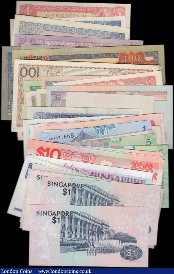 Asia collection (48), Indonesia (21) date range 1952 - 1968, Malaya 5 Cents dated 1941, Malaysia (12), Singapore (14), mixed grades many VF or better, some Uncirculated : World Banknotes : Auction 159 : Lot 1574