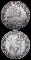 London Coins : A159 : Lot 1998 : France Ecu (2) 1647K KM#155.9 Fine/VG with some adjustment lines and some weakness on the shield, 16...