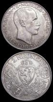 London Coins : A159 : Lot 3333 : Norway 2 Kroner (2) 1908 KM#370 NEF with a thin scratch on the obverse, 1914 KM#370 NEF with a hint ...