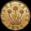 London Coins : A159 : Lot 674 : Brass Threepence 1946 Peck 2388 GEF/AU