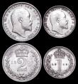 London Coins : A159 : Lot 914 : Maundy Set 1908 ESC 2524 EF to A/UNC the Fourpence and Threepence with some hairlines