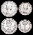 London Coins : A159 : Lot 923 : Maundy Set 1953 ESC 2570 UNC and lustrous with light contact marks, the Threepence and Penny with sm...