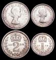 London Coins : A159 : Lot 924 : Maundy Set 1954 ESC 2571 A/UNC to UNC and lustrous, the Fourpence with a small tone spot on the rim