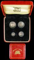 London Coins : A159 : Lot 934 : Maundy Set 1964 ESC 2581 UNC with matching grey tone, in a red square Maundy Money case