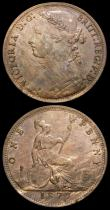 London Coins : A159 : Lot 997 : Pennies (2) 1860 Beaded Border Freeman 6 dies 1+B VF or slightly better, unevenly toned, 1877 Freema...