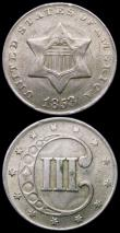 London Coins : A160 : Lot 1266 : USA (2) Half Dollar 1838 Breen 4734 a pleasing example of this short series, Three Cents 1853 Silver...