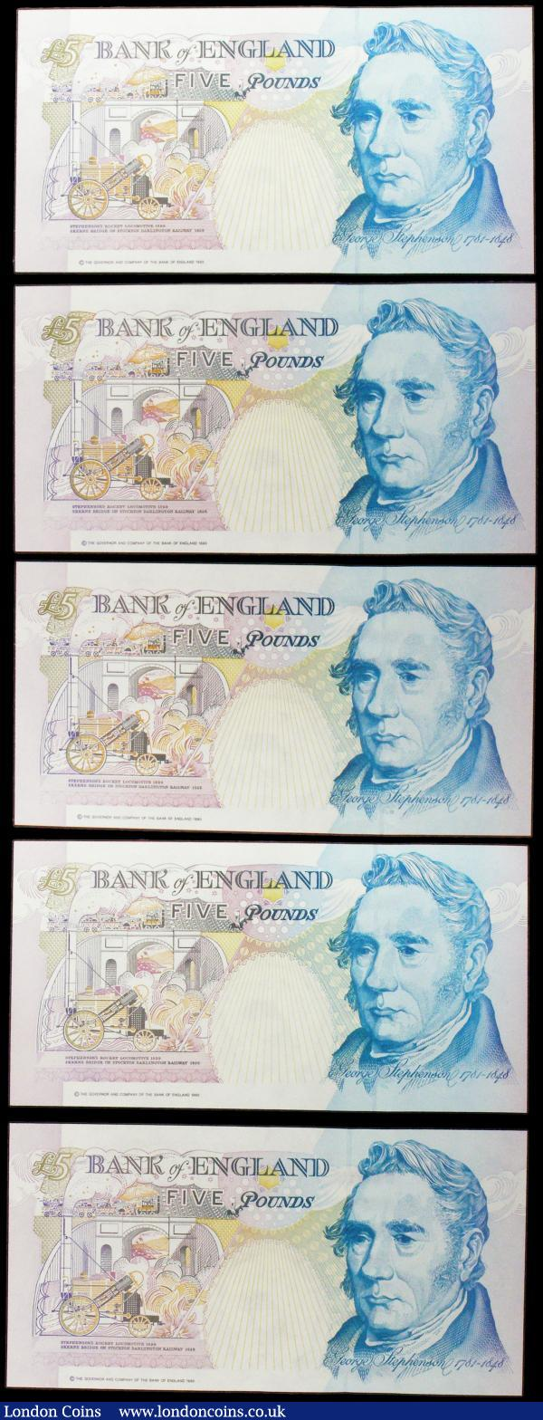 Five Pounds B363 Kentfield (5) issued 1993, FIRST RUN issues with LOW serial numbers AA01 006796, AA01 006807 & AA01 007328, plus 2 first series notes AA18 635747 & AA68 749789, (Pick382b), Uncirculated : English Banknotes : Auction 160 : Lot 132