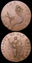 London Coins : A160 : Lot 1680 : Halfpennies 18th Century Norfolk (2) Norwich undated Brandy Bottle/Hope DH24c GVF with a spot on the...