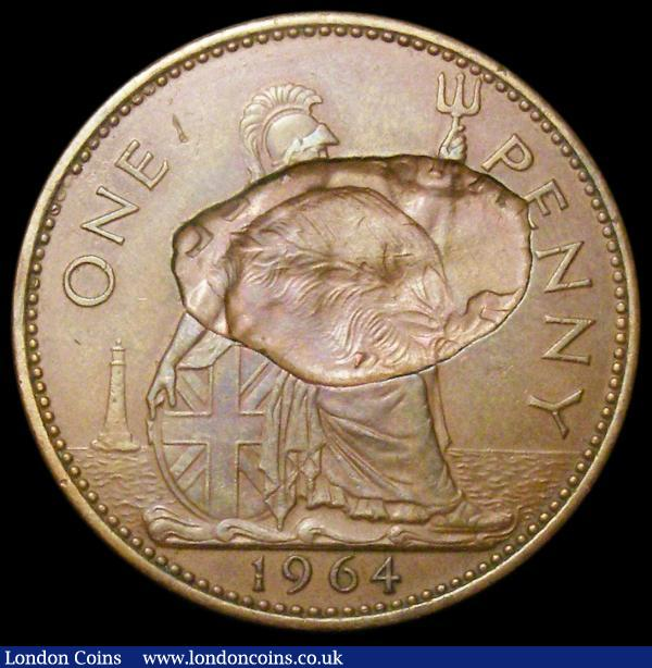 Mint Error - Mis-Strike Penny Partial obverse brockage 1964