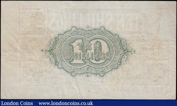 Ten Shillings Warren Fisher T30 issued 1922 series K95 390077, portrait King George V at right, (Pick358), about VF to VF : English Banknotes : Auction 160 : Lot 191