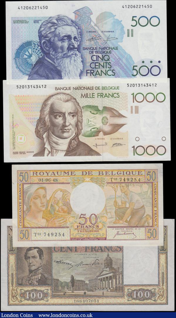 Belgium (4), 1000 Francs issued 1980 - 1996 (Pick144a) about EF, 500 Francs issued 1982 - 1998 (Pick143a) about UNC, 100 Francs dated 26th February 1949 (Pick126) good VF, 50 Francs dated 1st June 1948 (Pick133a) good EF : World Banknotes : Auction 160 : Lot 239
