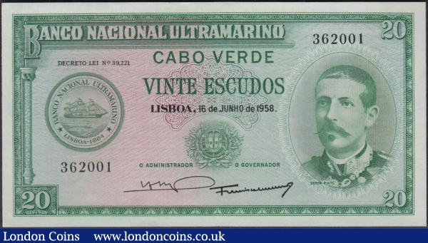 Cape Verde 20 Escudos dated 16th June 1958 series no. 362001, portrait Serpa Pinto at right, (Pick47a), tiny corner fold, about Uncirculated to Uncirculated : World Banknotes : Auction 160 : Lot 259