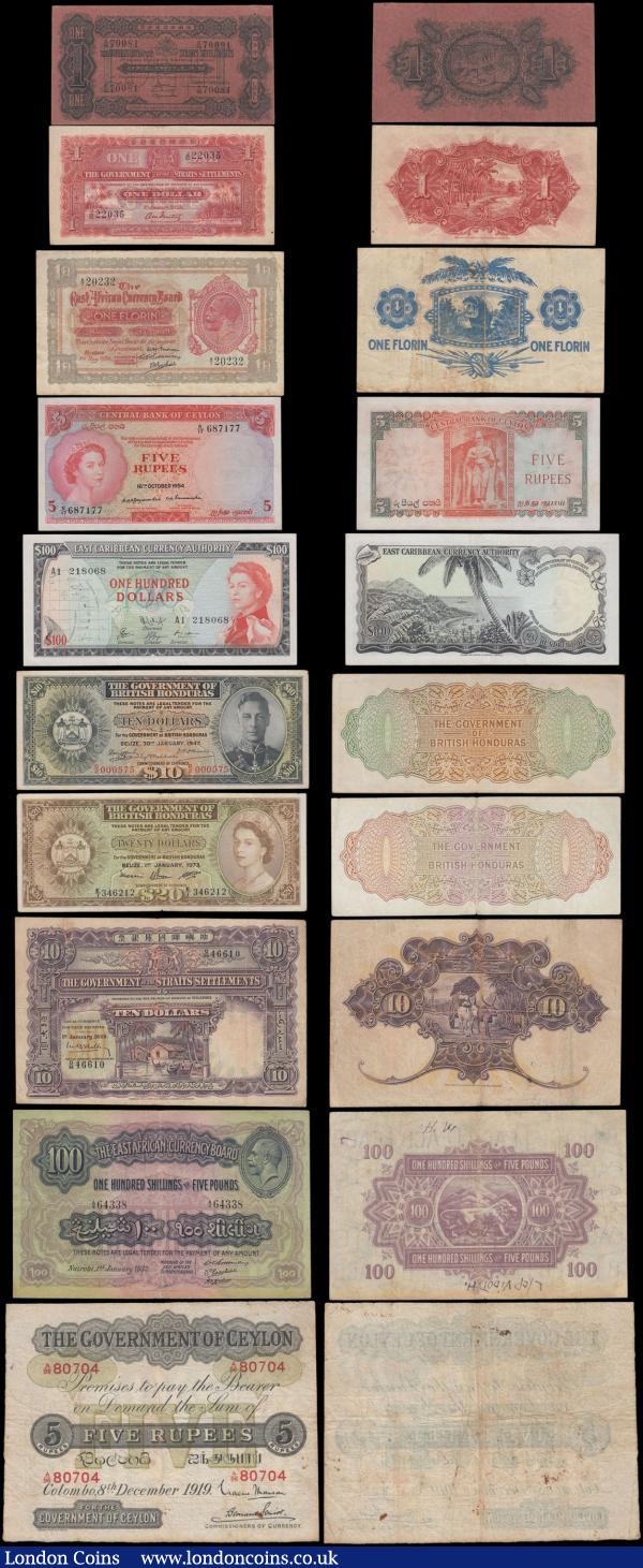 Commonwealth & World, Commonwealth collection in an album (163), Ceylon, East African Currency Board, British West Africa, Southern Rhodesia, Rhodesia & Nyasaland, Rhodesia, Fiji, St. Helena, Falkland Islands, Solomon Islands, Seychelles, India, Burma, Straits Settlements, Malaya, Malaya & British Borneo, British Guiana, British Honduras, Belize, British Caribbean, Eastern Caribbean, Bahamas & Cayman Islands. Includes Straits Settlements 10 Dollars dated 1929, (Pick11a) Fine, 10 Dollars dated 1933, (Pick18a) Fine, British Guiana 5 Dollars dated 1942, (Pick13c) Fine, British Honduras 10 Dollars dated 1947, (Pick27a) about VF, British Caribbean 20 Dollars dated 1961, (Pick11b) Fine, Ceylon 100 Rupees dated 1945, (Pick38a) small edge tear, about VF, East African Currency Board 1 Florin date1920 (Pick8a) Fine, 100 Shillings issued 1964, (Pick48a) Uncirculated, Southern Rhodesia 5 Pounds dated 1945, (Pick11b) Fine, Rhodesia & Nyasaland 5 Pounds dated 1961, (Pick22b) good Fine, and many more, a fabulous collection of King George V, VI and Queen Elizabeth II. Also two further  albums (190+) of mostly Asia, some Africa and a few Bank of England, strength in French Indochina and Vietnam, including 100 Piastres dated 1919, (Pick39) Fine, 1 Piastre dated 1901, (Pick5) about Fine, a very rare opportunity to acquire a wide variety of commonwealth notes and many others. : World Banknotes : Auction 160 : Lot 280