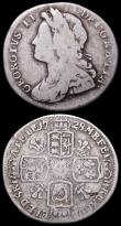 London Coins : A160 : Lot 3064 : Sixpences (2) 1726 Small Roses and Plumes ESC 1602 Near Fine, comes with old Baldwins ticket from 19...