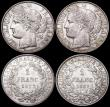London Coins : A160 : Lot 3197 : France (3) 1 Franc (2) 1872 Small A KM#822.1 A/UNC with a small tone spot on the obverse, 1887A KM#8...