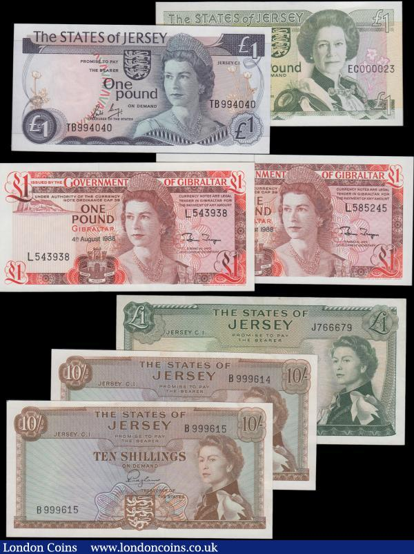 Jersey (5) and Gibraltar (2), Jersey 10 Shillings issued 1963 a pair of consecutively numbered notes series B999614 & B999615, signed Padgham, (Pick7a), 1 Pound (3) issued 1963, 1976 - 1988 and 1989, the 1989 £1 has a very low serial number E000023, (Pick8a, Pick 11b & Pick15a), Gibraltar 1 Pound (2) dated 4th August 1988, (Pick20e), the first two EF, the third cleaned & pressed VF, the rest Uncirculated : World Banknotes : Auction 160 : Lot 423