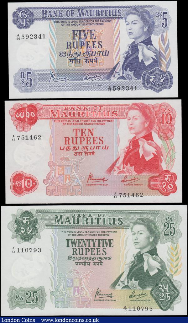 Mauritius (3), 25 rupees series A/13 110793, (pick32b), light dent in paper otherwise UNC, 10 Rupees series A/43 751462, (Pick31c), UNC and 5 Rupees series A/46 592341, (Pick30c), about UNC, issued 1967 signature 4, portrait Queen Elizabeth II at right : World Banknotes : Auction 160 : Lot 467