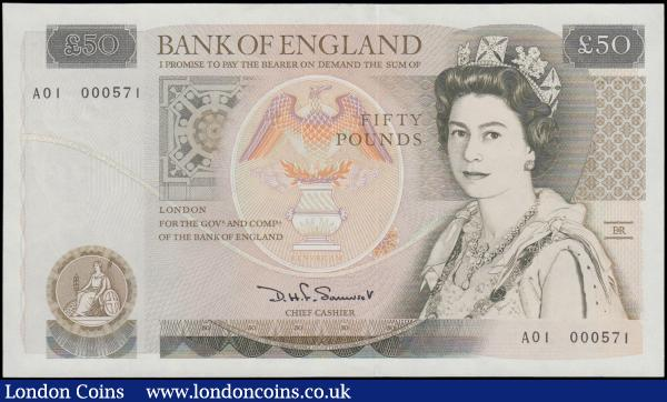Fifty Pounds Somerset B352 issued 1981 FIRST RUN low number series A01 000571, Sir Christopher Wren on reverse, (Pick381a), about Uncirculated to Uncirculated  : English Banknotes : Auction 161 : Lot 103