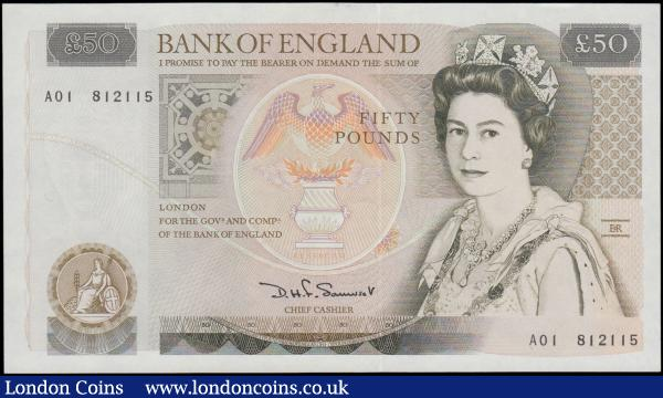 Fifty Pounds Somerset B352 issued 1981 FIRST RUN series A01 812115, Sir Christopher Wren on reverse, (Pick381a), about Uncirculated to Uncirculated : English Banknotes : Auction 161 : Lot 106