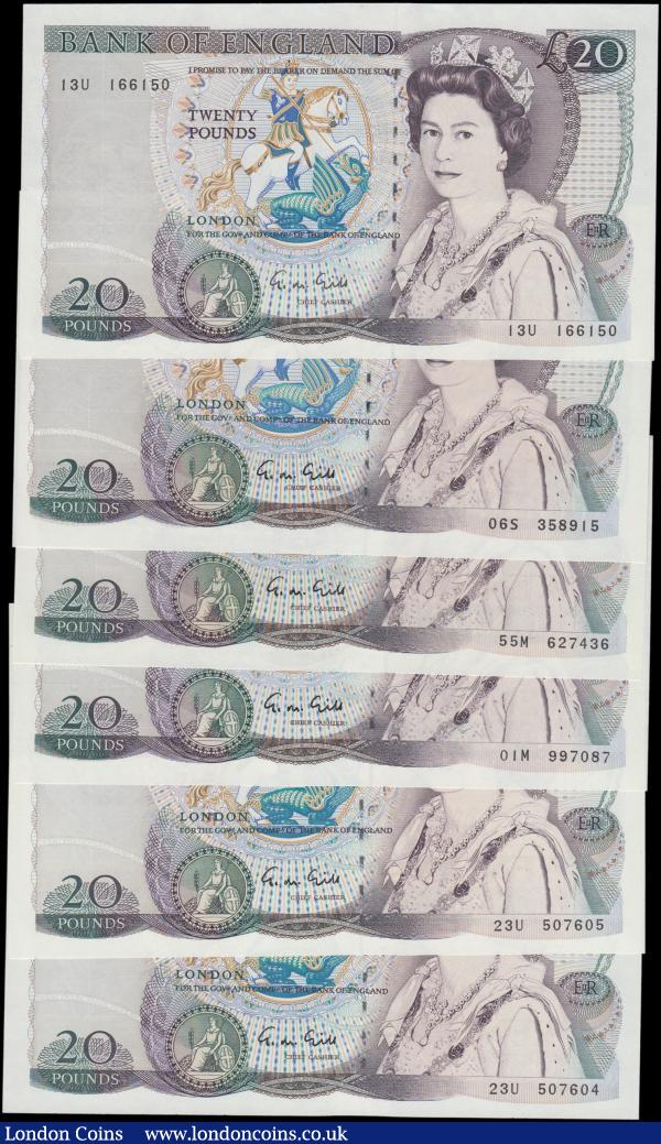 Twenty Pounds Gill B355 (6) issued 1988, includes a consecutively numbered pair and a mid series '01' note, (Pick380e), Uncirculated : English Banknotes : Auction 161 : Lot 109