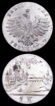 London Coins : A161 : Lot 1178 : German States - Frankfurt (2) 6 Kreuzer 1853A Reverse: City Scene KM#350 UNC and lustrous, 1 Kreuzer...