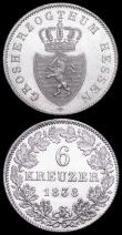 London Coins : A161 : Lot 1180 : German States - Hesse-Darmstadt 6 Kreuzer (2) 1836 KM#297, 1838 KM#306 both UNC with attractive ligh...
