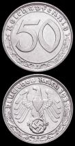 London Coins : A161 : Lot 1201 : Germany - Third Reich 50 Reichspfennigs (2) 1938E KM#956 EF, 1939D KM#956 A/UNC with a small tone sp...