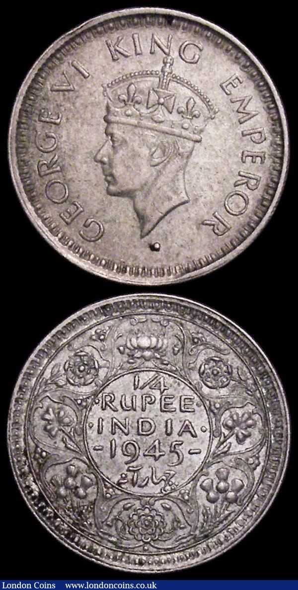 India (2) Quarter Rupee 1945 Bombay, Large 5 in date KM#547 EF toned the reverse with two small spots, Half Rupee 1945 Lahore Small 5 in date, KM#551 EF toned : World Coins : Auction 161 : Lot 1226