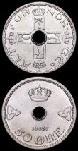 London Coins : A161 : Lot 1294 : Norway 50 Ore (2) 1926 KM#386 UNC with a few small spots, 1939 KM#386 UNC and lustrous with an attra...