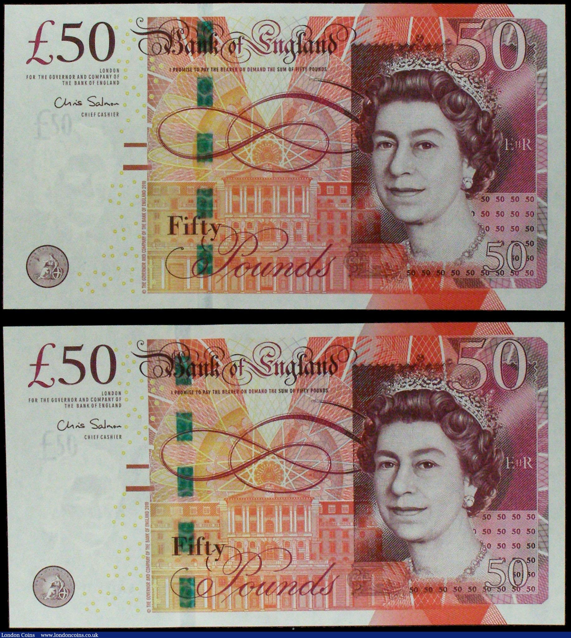 Fifty Pounds Salmon B410 (2) issued 2011, FIRST RUN notes with low