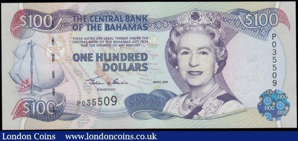 Paper Money: World North & Central America Bahamas 1 Dollar Pair Smith Signature Horiz Serials Nice Unc