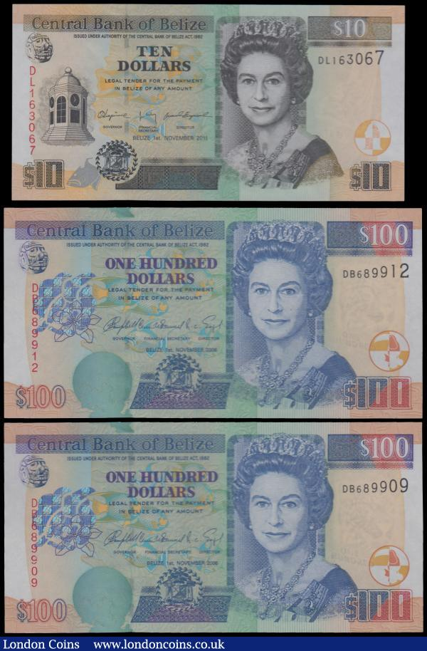Belize Central Bank (3), 100 Dollars (2) dated 1st November 2006 series DB 689909 & DB 689912, (Pick71b), in PMG holders graded 65EPQ Gem Uncirculated, Exceptional Paper Quality, 10 Dollars dated 1st November 2011 series DL163067, (Pick68d), in PMG holder graded 66EPQ Gem Uncirculated, Exceptional Paper Quality : World Banknotes : Auction 161 : Lot 199