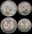London Coins : A161 : Lot 2862 : Maundy Set 1836 ESC 2443, Bull 2554 VF to EF with matching tone, the Fourpence with a small nick in ...