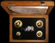 London Coins : A161 : Lot 856 : South Africa 2009 Natura Exclusive Set - The White Rhino a 4-coin set 100 Rand (One Ounce), 50 Rand ...