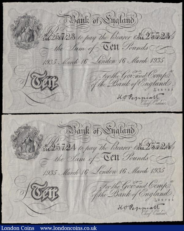Peppiatt Ten Pounds B242 (2) German Operation Bernhard forgery WW2 both dated 16th March 1935 a consecutively numbered pair series K/144 25723 & K/144 25724, (Pick336B), in PMG holders graded 64 Choice Uncirculated and 63EPQ Choice Uncirculated, exceptional paper quality, scarce as a consecutive pair : English Banknotes : Auction 162 : Lot 127