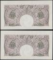 London Coins : A162 : Lot 132 : Peppiatt Ten Shillings B251 (2) mauve emergency issue 1940, a pair of consecutively numbered notes s...