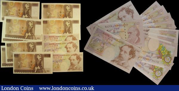 Ten Pounds (22), Somerset B346 issued 1980 first prefix of LAST RUN series Z01 064147, about Uncirculated, Somerset B349 issued 1987 FIRST RUN series CS01 853226, Uncirculated, Gill B354 (3) issued 1988 FIRST RUN consecutively numbered pair series DR01 757318 & DR01 757319, Uncirculated & LAST SERIES JR27 098605, Uncirculated, Kentfield B360 (3) issued 1991 FIRST, LAST & MID RUN series KN01 500540, KN88 219842 & KR30 618677, Uncirculated or about, Kentfield B366 (2) issued 1992 FIRST RUN series A01 000906 & A01 253728, Uncirculated, B369 (4) issued 1993 FIRST RUN series prefix DD01 all with low numbers, Uncirculated, Lowther (3) with 3 interesting prefixes AA01, LA80 and VR10, Uncirculated and about, Bailey (5) including a near SOLID number series DH11 111110, Uncirculated : English Banknotes : Auction 162 : Lot 155