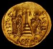 London Coins : A162 : Lot 1559 : Byzantine Constantine IV (AD 668-685) gold solidus. Weighs 4.46 grams. Beardless bust, three quarter...