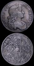 London Coins : A162 : Lot 1742 : Crowns (2) 1662 No Rose below bust, No edge date ESC 19, Bull 347 VG, 1676 ESC 51, Bull 397 About Fi...