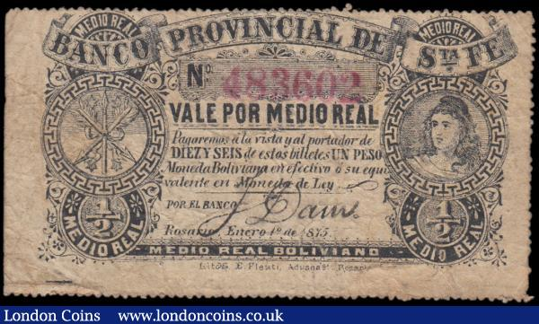 Argentina 1/2 Medio Real Plata Boliviano dated 1st January 1875, red serial number 483602, stamped signature, unpriced in Pick (PickS819b), Fine and rare : World Banknotes : Auction 162 : Lot 176