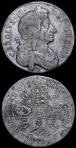 London Coins : A162 : Lot 1860 : Halfcrowns (2) 1680 TRICESIMO SECVNDO ESC 485, Bull 489, VG/NF with some old light surface marks and...