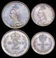 London Coins : A162 : Lot 1869 : Maundy Set 1888 ESC 2502, Bull 3545 A/UNC to UNC with matching tone, the Fourpence, Threepence and T...