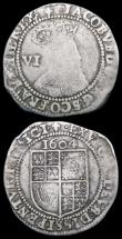 London Coins : A162 : Lot 2136 : Sixpences James I (2) First Coinage, Second Bust 1604 mintmark Lis VG/Around Fine, comes with old ti...